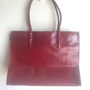 Bags - Croc Wine Embossed Extra Large Tote Bow Accent